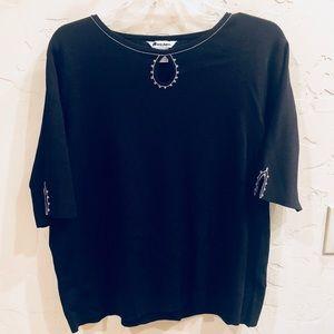 Black 3/4 Sleeve Sweater with Tan Stitch Trim